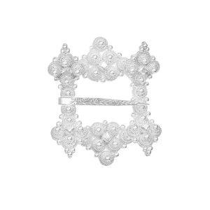 Stor Hornring i hvitt sølv