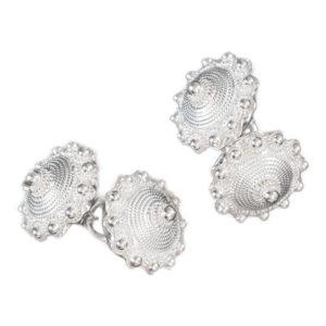 Filigran mansjettknapper i hvitt sølv