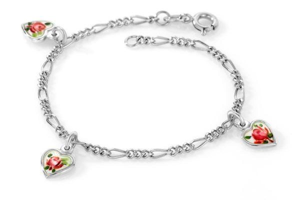 Hjerte malte roser armband - 220510