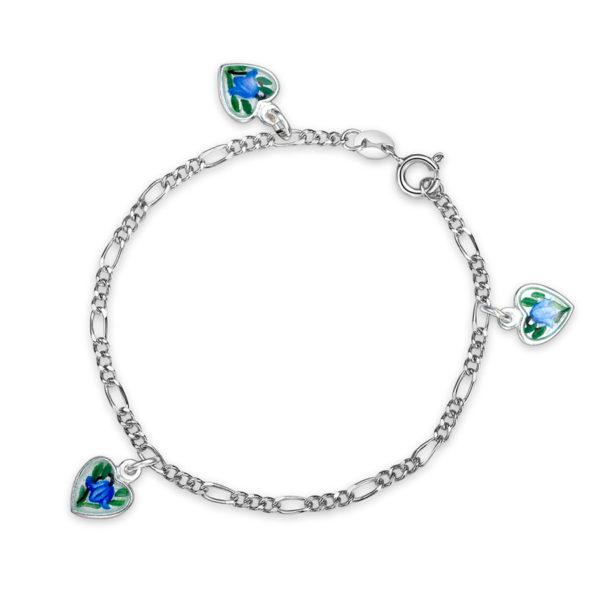 Hjerte malte blåklokker armband - 220520