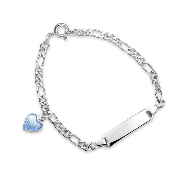 Lys blått hjerte armband - 222502