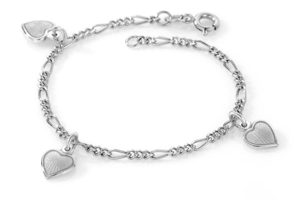 Hvit hjerte armband - 22503