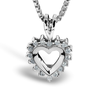 Anheng hjerte m/ diamanter 26464