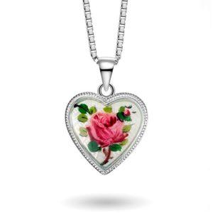 Hjerte malt rose, stort 270710