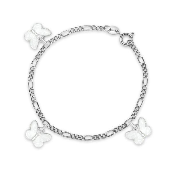 Hvit sommerfugl armband - 32503