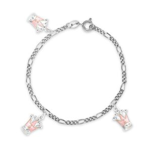 Rosa prinsessekrone armband - 42501