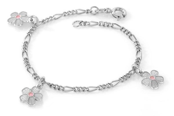 Hvite blomster armband - 90503
