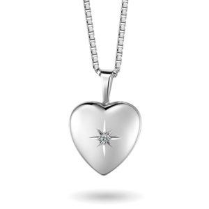 Hjertemedaljong sølv, m/diamant 67065