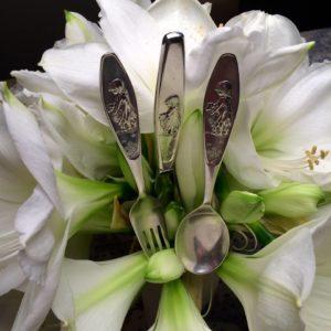 Bæ-bæ gaffel jente i sølv 9309