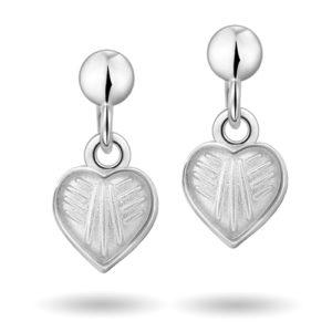 Hvit hjerte øreheng 22000603