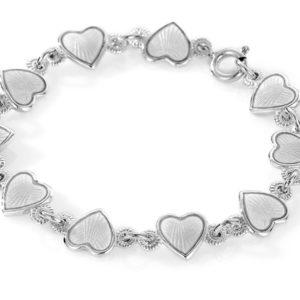 Hvit hjerte armband - 22203
