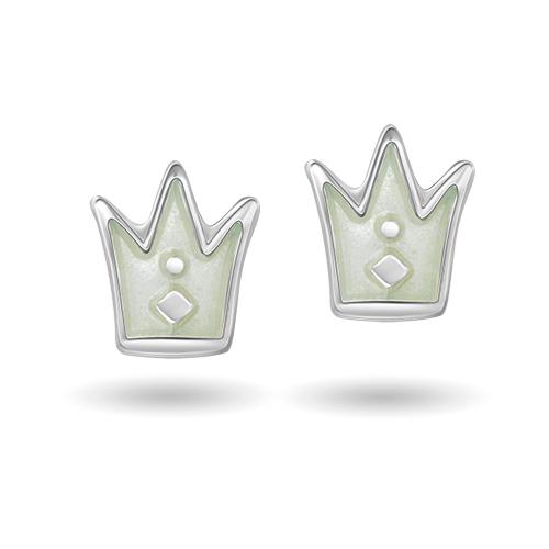 Hvit prinsessekrone ørestikk 4200603