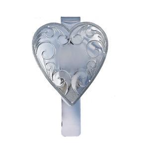 Lommekrok utformet som et gravert hjerte med plass til personlig gravering