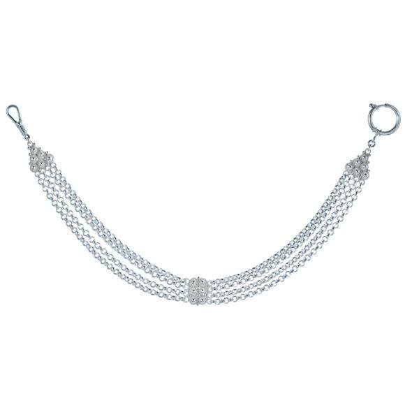 Klokkeband filigran til lommeur i oksidert sølv
