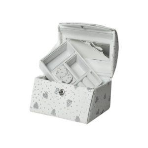 Smykkeskrin hvitt m/hjerter- 31848