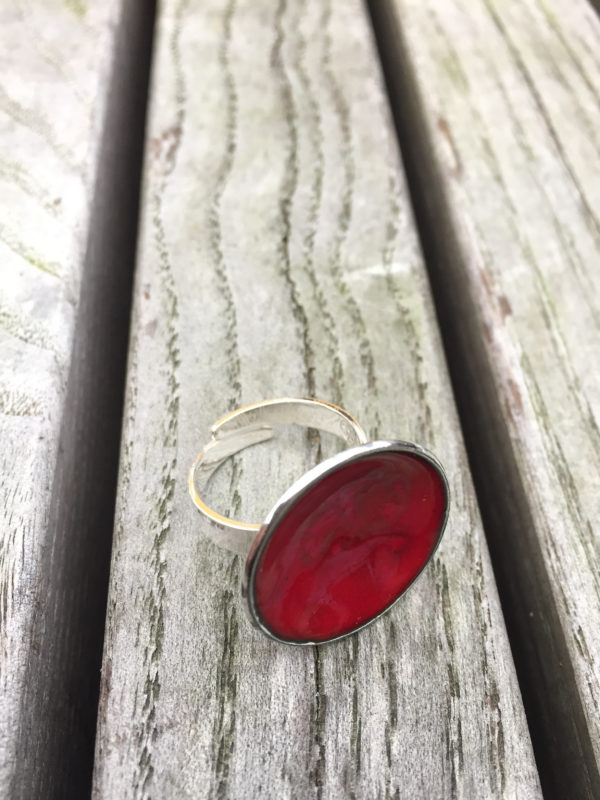 Embla boble ring mørk rød- 1495a