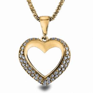 Anheng hjerte gult gull 27075