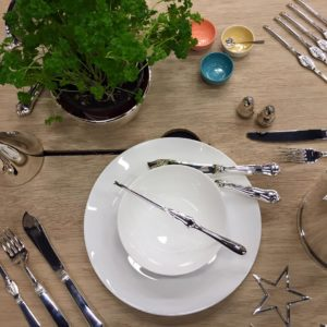 Märtha, fiskegaffel m/ sølvtinner 18,5 cm