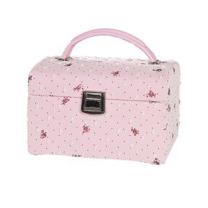 Smykkeskrin rosa m/blomster- 3463613
