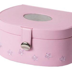 Smykkeskrin rosa m/blomster-3463424